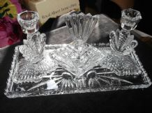ART DECO GLASS DRESSING TABLE LARGE TRAY 2 CANDLESTICKS + POT & LID FAN DETAIL